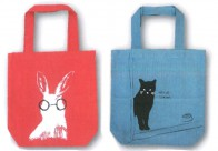 トートバッグ アニマル柄 カラフル かわいい A4サイズ 布 ネコ ウサギ