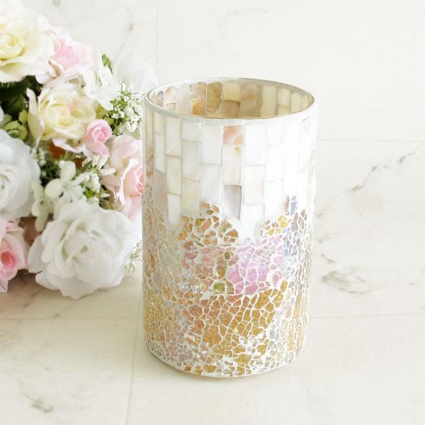 ルミエール ガラスホルダー ホワイト モザイクガラス